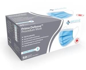 Prime Defense Procedure Masks ASTM Level 2 - Face Masks - AW Sales and Distribution Alberta - Medical PPE